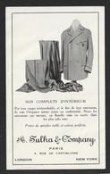 Ancienne Carte De Visite SULKA ET COMPAGNY Costume Paris London New York 130x80 = Très Très Bon état = Ti 614 - Werbepostkarten