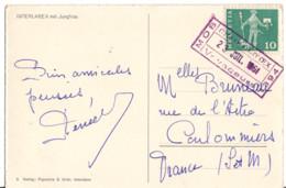 SUISSE YT N°644 OBLITERE CHEMIN DE FER MOB  CHATEAU D'OEX SUR CP POUR LA FRANCE - Briefe U. Dokumente