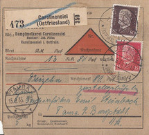 DR Paketkarte Mif Minr.414, 422 Carolinensiel (Ostfriesland) 13.9.33 Gel. Nach Taura - Cartas