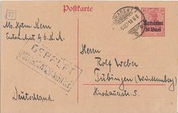 Dt. Besetzung Rumänien Ganzsache Minr.P5 Bukarest 6.9.18 Zensur Gel. Nach Tübingen - Ocupación 1914 – 18
