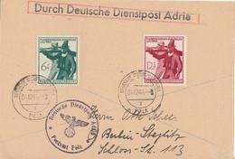 Durch Deutsche Dienstpost Adria Karte Mif Minr.897, 898 Postamt Pola 4.12.44 - Ocupación 1938 – 45