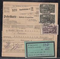 Saargebiet Paketkarte Mif Minr.115,2x 120 Saarbrücken 14.4.31 Gel. Nach Bischwiller - Unclassified