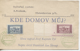 Tschechoslowakei Sonderstempel Praha 10.3.35 Briefmarkenwerbeschau, # 330 Plattennummer1,331 - Briefe U. Dokumente