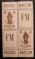 France FM 10A 2 Paires ** TB - Militärpostmarken