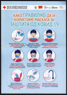 Macedonia 2020 / How To Properly Use Masks To Protect Against COVID 19 / Hand Washing, Health / Red Cross Leaflet - Equipo Dental Y Médica