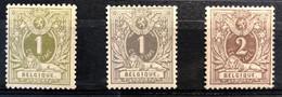 België, 1884-1888, Liggende Leeuw, 42/43/44, Met Scharnier *, OBP 42€ - 1869-1888 Lying Lion
