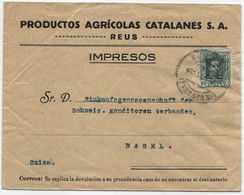 1923 Carta Tarifa Impresos De Reus A Basilea, Bonita Trasera - Briefe U. Dokumente