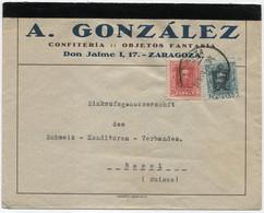 1923 Carta De Zaragoza A Basilea - Briefe U. Dokumente