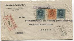 1927 Carta Certificada De Madrid A Suiza Con Perforados SE - Briefe U. Dokumente