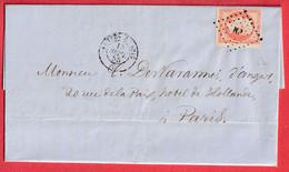 N°16 BDF AMBULANT NP NANTES A PARIS TEXTE ANGERS MAINE ET LOIRE - 1849-1876: Période Classique