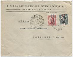 1931 Carta De Villanueva Y Geltru A Suiza - 1931-50 Cartas