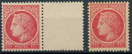 NB - [100263]TB//**/Mnh-N° 676, 1f Rose-rouge, Avec Bdf D'interpanneau, Et L'autre Papier Jaune Et Belle Nuance (*/mh) - 1945-47 Ceres (Mazelin)