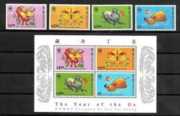 HONG KONG 1997 Chinese New Year (Year Of The OX) Set & Souvenir Sheet MNH - Otros