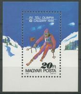 Ungarn 1987 Olympia Calgary Ski Block 193 A Postfrisch (C92651) - Blocks & Sheetlets