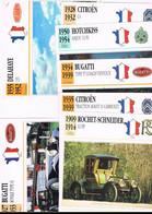 BUGATTI-DELAGE-TALBOT/LAGO-RENAULT-DELAHAYE-CITROËN-HISPANO/SUIZA-FACEL/VEGA-HOTCHKISS-ROCHET/SCHNEIDER. 16 FICHES. - Cars