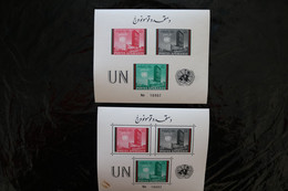 Afghanistan 536-538 UN Headquarters NY Imperforate & Perf Souvenir Sheet Block MNH 1961 STAIN A04s - Afghanistan