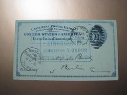 USA New York To Berlin Germany 1890 Postal Card - Gebraucht