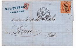 Lettre 1872 Marseille Bouches Du Rhône Paquet Roma Italia Timbres Cérès 40 Centimes Rome Italie - 1870 Siege Of Paris