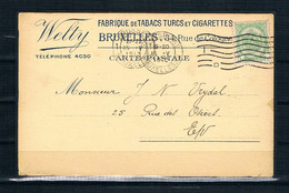 1912    Gelopen Postkaart   WELTY  Fabrique De Tabacs Turcs Et Cigarettes   BRUXELLES - Postales [1909-34]