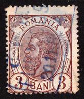 ROMANIA : 3 BANI - SPIC DE GRÂU ( Mi. 101 - 1893)  - STAMPILA : C.F.R. FURNICOSI [ MUSCEL ] - 20. 11. 1889 - RRR (ag692) - Gebraucht