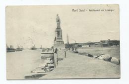 Postcard  Egypt Ferdinand De Lesseps Ww1 Censor Mark Red. Field Post Office. Posted 1916 - Port Said