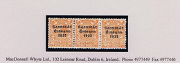 """Ireland 1923 Harrison Coils Saorstat 3-line Ovpt On 2d Orange """"Coil Join"""" In Horiz Strip Of Three Mint Unmounted - Unused Stamps"""