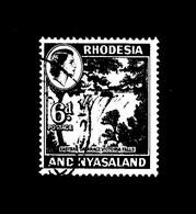 RHODESIA And NYASALAND  :   Regina - Victoria Falls  -  1 Val. Usato  Del. 12.08.1959 - Rhodesien & Nyasaland (1954-1963)