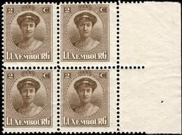 Luxembourg, Luxemburg 1921 Charlotte Bloc à 4: 2c. Neuf MNH** - 1921-27 Charlotte Front Side