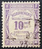 France YTYX044 - Timbres Taxe - Recouvrements Valeurs Impayées - 10 C Used Stamp 1908-1925 - FRAYX044U - Fiscaux