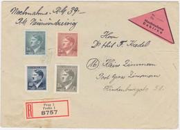 B+M MiNr. 91,98,100 U. 102 Auf Portorichtigem NN-R-Bf. Von Prag (R1169) - Ocupación 1938 – 45