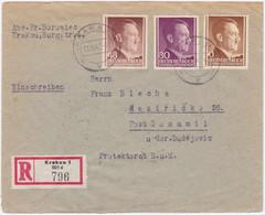 Generalgouvernement MiNr. 72, 79 U. 82 Auf Portorichtigem R-Bf. Von Krakau 1y (R1171) - Ocupación 1938 – 45