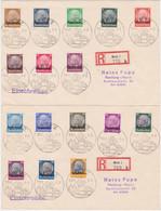 Lothringen MiNr. 1-16 Auf 2 R-Briefen Aus Metz, Jede Marke Einzeln Gestempelt (R1172) - Ocupación 1938 – 45