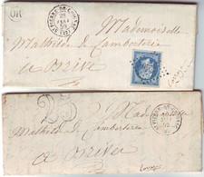 ST PIERRE DE CHIGNAC Dordogne Lettre N° 14 Obl PC Et Lettre Taxee 25 , TRES BON BUREAU !!!  Textes , SUPERBES !!! - 1849-1876: Période Classique