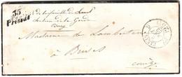 RARETEE , Combinaison CURSIVE Et Cachet TAXE De PARIS !!!! Lettre 35 PRISSAC Indre Pour La Correze 1852 TTB++++ - 1849-1876: Période Classique