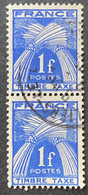 France YTYX081 - Timbres Taxe - Type Gerbes - Pair Of 1 F Used Stamps 1946-55 - FRAYX081Ux2v - Fiscaux