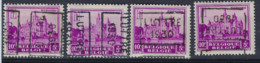 Zegel Nr. 308  Voorafstempeling Nr. 5975 A + B + C + D  LUTTRE 1930    ; Staat Zie Scan ! - Roulettes 1930-..