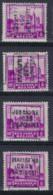 Zegel Nr. 308  Voorafstempeling Nr. 5967 JODOIGNE 1930 GELDENAKEN In De 4 Posities , A  B  C  En D ; Staat Zie Scan ! - Roulettes 1930-..