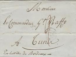 """1848- Lettre De MARSEILLE Pour Tunis  Taxe 2 D """" Par La Ville De Bordeaux """" - Poste Maritime"""