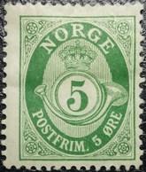 Norvège 1883-90 Y&T N°38 Vert Bleuâtre. Neuf* MLH (Perforation: 14½ X 13½) - Ungebraucht
