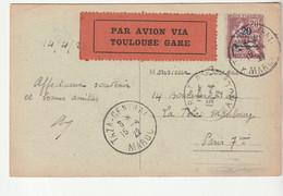 """Carte Maroc Avec Type Mouchon /Protectorat Français Et Vignette """" Par Avion Via Toulouse Gare """" Taza 1922 - Lettres & Documents"""