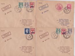France Aviation Enveloppe Philatélique Essai De Lestage De Plis 1946 Aéro Club Nice Fayence Lot 4 Lettres Imprimé Numéro - Lettres & Documents