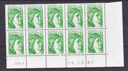 France 2154  Sabine Bloc De 10 Coin Avec Rotative Datés 26 10 1981 Neuf**  TB MNH Sin Charnela - 1980-1989