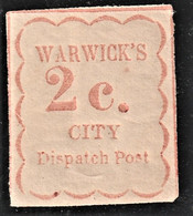 Rare Timbre Warwick's City Dispatch Post 2c - Postes Locales