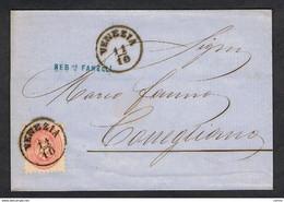 L.V.:  1864/65  STEMMA  5 S. ROSA  SU  LETTERA  DA  VENEZIA  -  D. 9 1/2  -  SASS. 43 - Lombardy-Venetia
