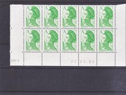 France 2423 Liberté Bloc De 10 Coin Avec Rotative Datés 10 07 1986 Neuf**  TB MNH Sin Charnela - 1980-1989