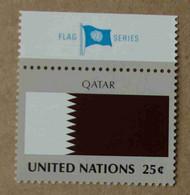 """Ny88-02 : Nations-Unies (N-Y) / Drapeau Des Etats Membres De L'ONU - Quatar Avec La Vignette """"FLAG SERIES"""" - Ongebruikt"""