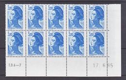France 2377 Liberté Bloc De 10 Coin Avec Rotative Datés 17 06 1985 Neuf**  TB MNH Sin Charnela - 1980-1989