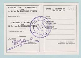 Brigade Piron, Lidkaart, Carte Membre Brigade Piron, FNAC - Variedades/Curiosidades