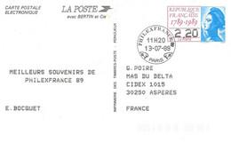 CP électronique EP Phillex France 2496A-CP Paris 08/07/89 - Standard Postcards & Stamped On Demand (before 1995)