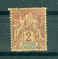 ST-PIERRE ET MIQUELON - N° 60* MH Trace De Charnière Scan Recto Verso. - Used Stamps